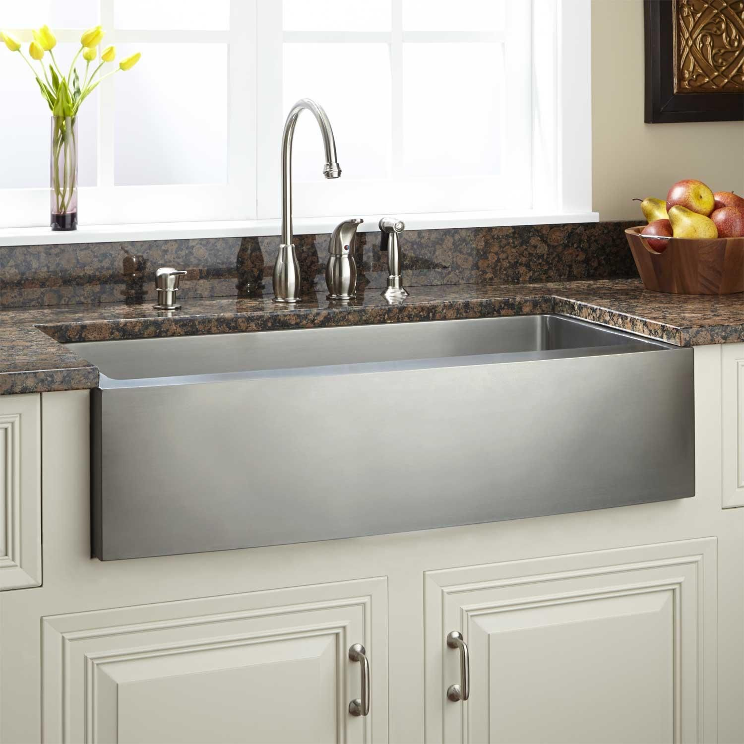 39 fournier stainless steel farmhouse sink in curved