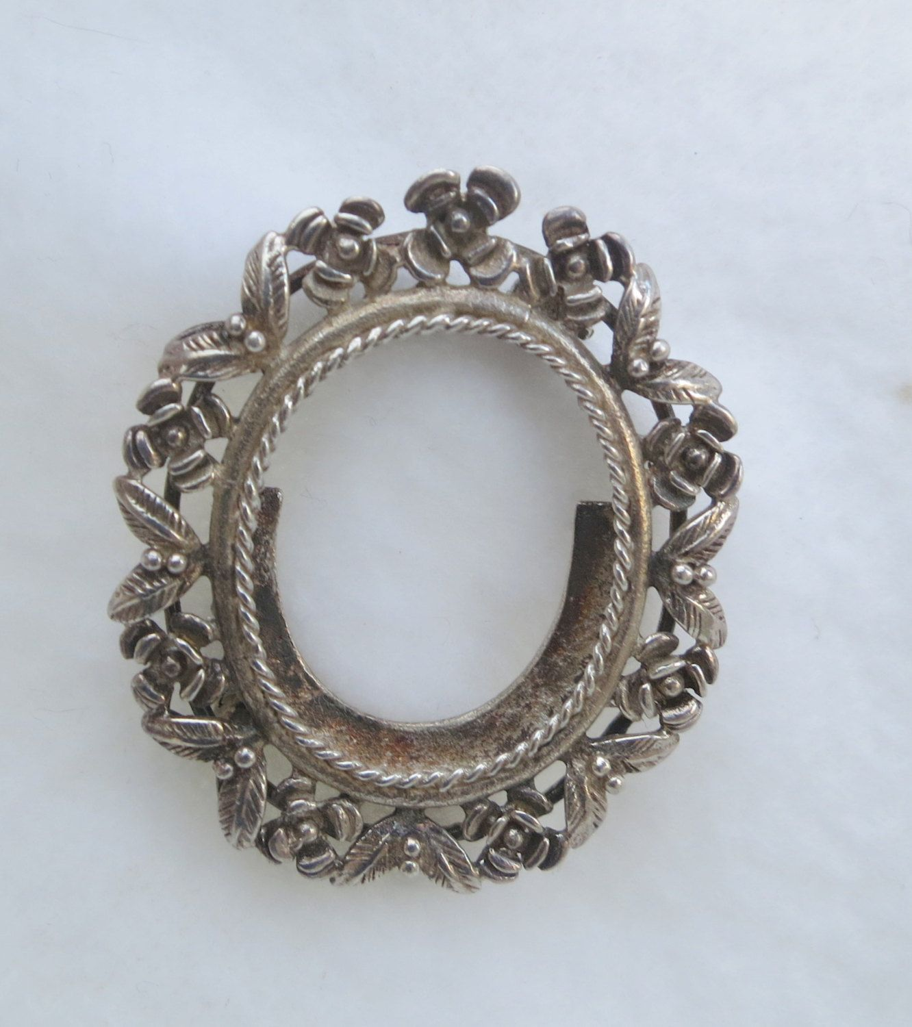 Sterling Silver Picture Frame Brooch with Flowers and Leaves by ...