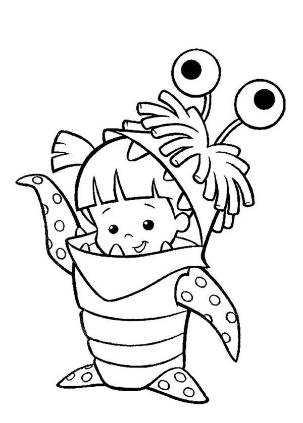 Monsters Inc Boo In Her Monster Costume In Monsters Inc Coloring Page Monster Coloring Pages Toy Story Coloring Pages Disney Coloring Pages