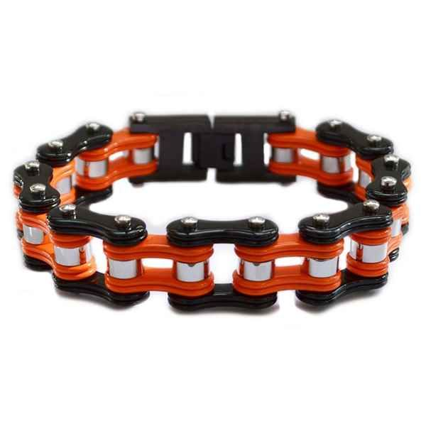 Double Black Orange Bike Chain Bracelet Bike Chain Bracelet