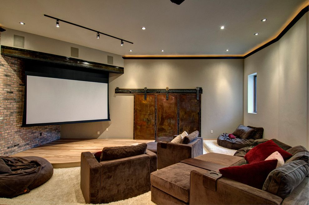 Staging Furniture For Sale Home Theater Contemporary With Brick Wall Brown Armchairs Home Theater Seating Diy Home Theater Seating Home Theater Rooms