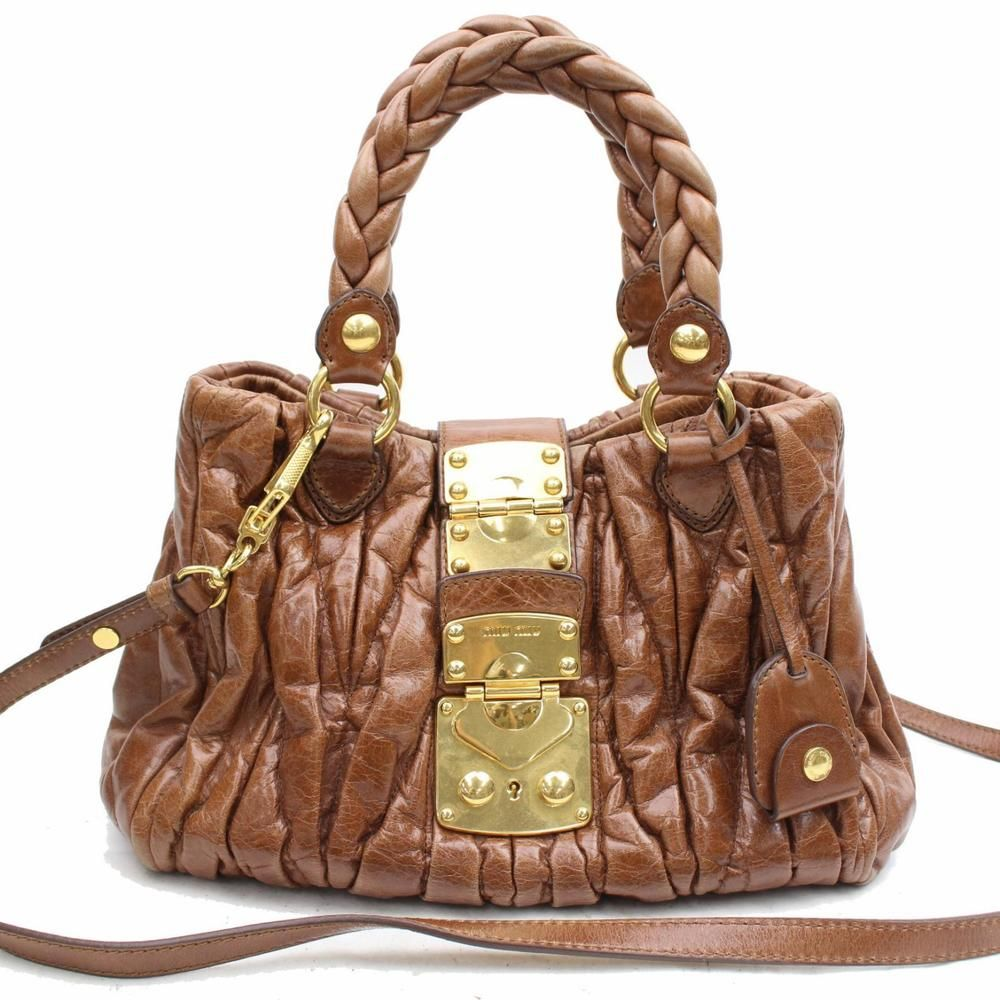 5463f618c851 Authentic Miu Miu Hand Bag Bauletto Aperto Browns Leather 117145  fashion   clothing  shoes