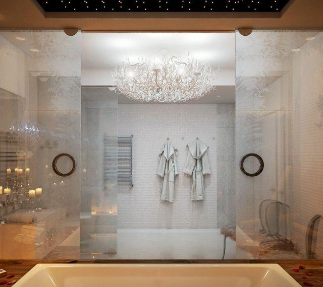 Gefrorenes Glas-Effekt Dusche Wand Abtrennung Holz-Integriert
