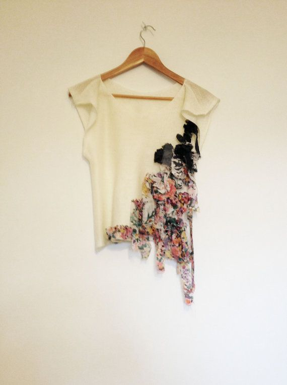 Cream And Floral Chiffon Knitted Top Original by GraceCookKnitwear, £25.00