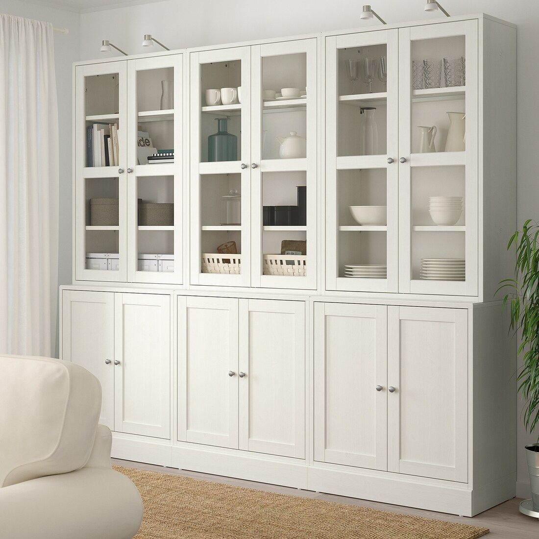 Havsta Storage Combination W Glass Doors White 95 5 8x18 1 2x83