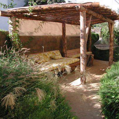 Patio Cover Created Out Of Logs Rustic Pergola Pergola Pergola Patio