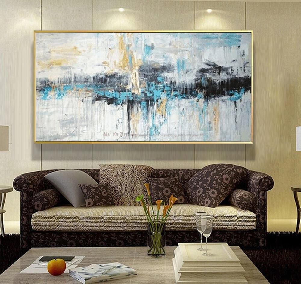 Colorful abstract oil painting for modern home decor