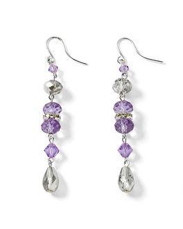 Silvertone Lilac Crystal Linear Earring - White House | Black Market