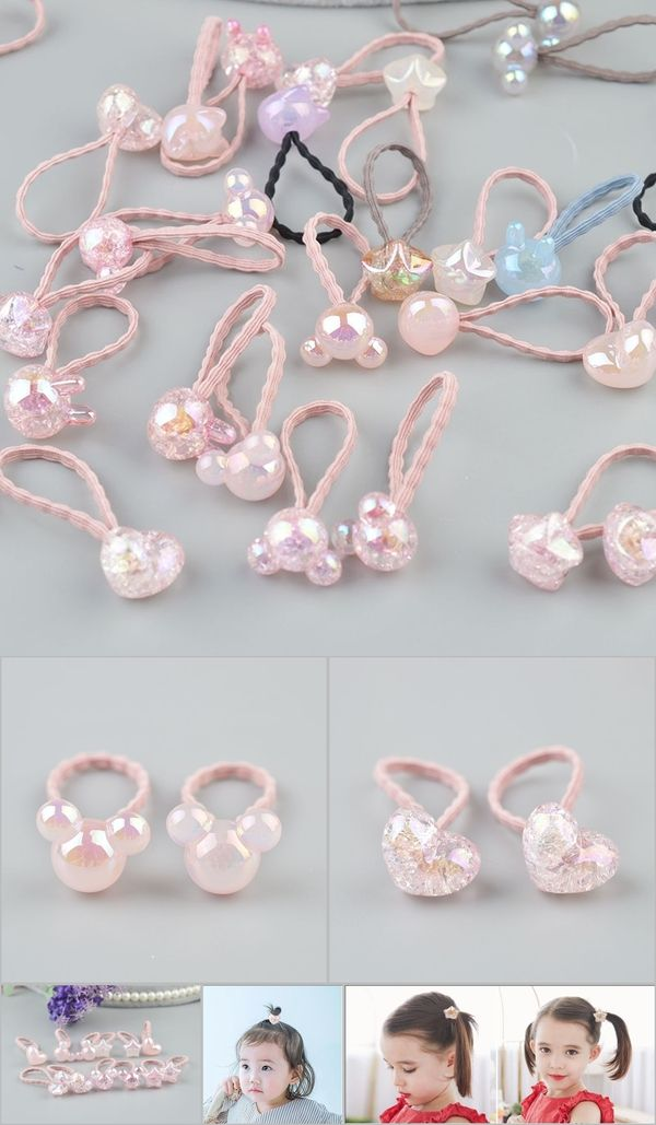 Accessories 1 Pcs New Lovely Long Rabbit Ears Children Hair Ropes Elastic Rubber Hair Band Baby Headwear Kids Headdress Girls Accessories
