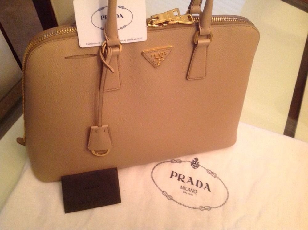 be5aea597b7d Prada Saffiano Lux Sabbia Color Authentic #PRADA #TotesShoppers ...
