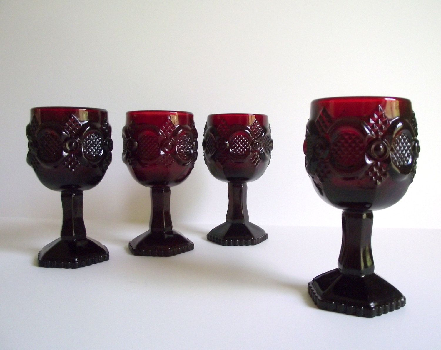 Goblet Style Wine Glasses Vintage Avon Quotcape Cod Quot Ruby Goblets Pressed Glass 1876