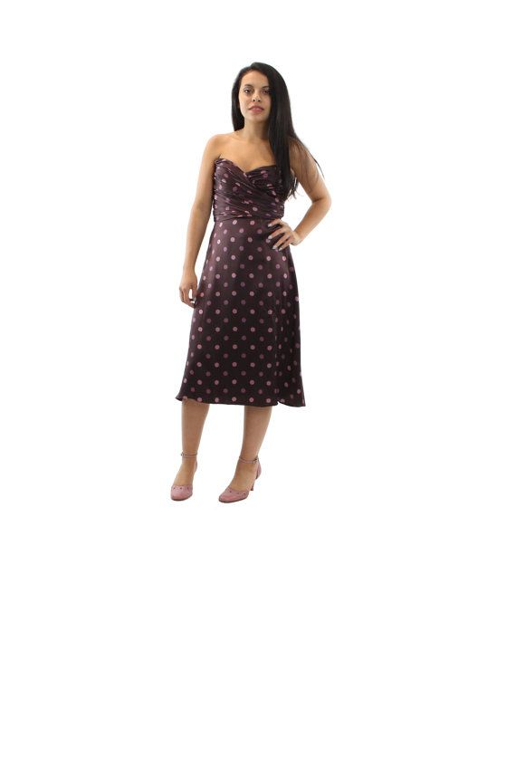 90s Strapless Dress BETSEY JOHNSON Polka Dot Brown by ScarletFury, $79.00, https://www.etsy.com/listing/189796607/90s-strapless-dress-betsey-johnson-polka?ref=shop_home_active_1 Women's vintage fall winter party dance fashion