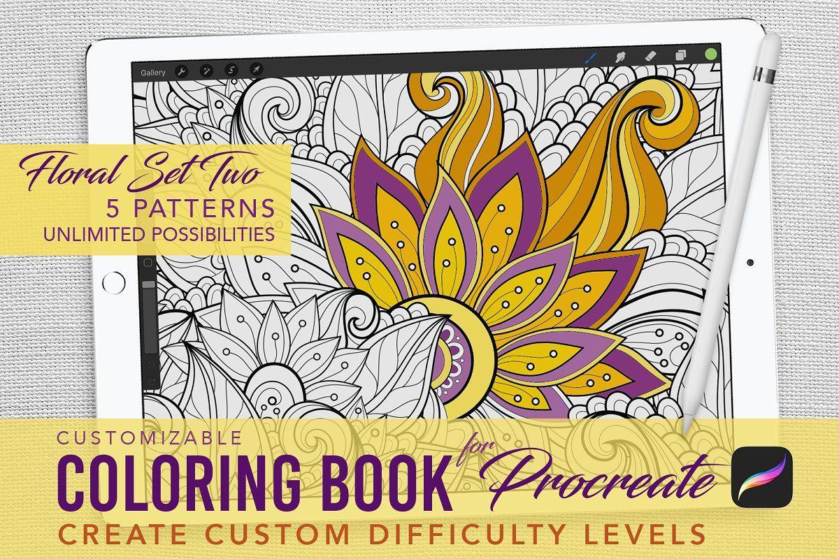 Procreate Coloring Book Floral 2 Coloring Books Pet Logo Design Business Card Logo