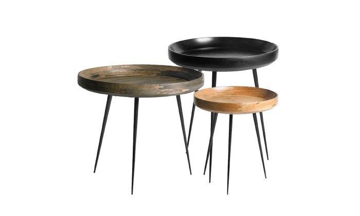Table Gigognes Rondes En Verre Trempe Coloris Noir Glossy Maison Et
