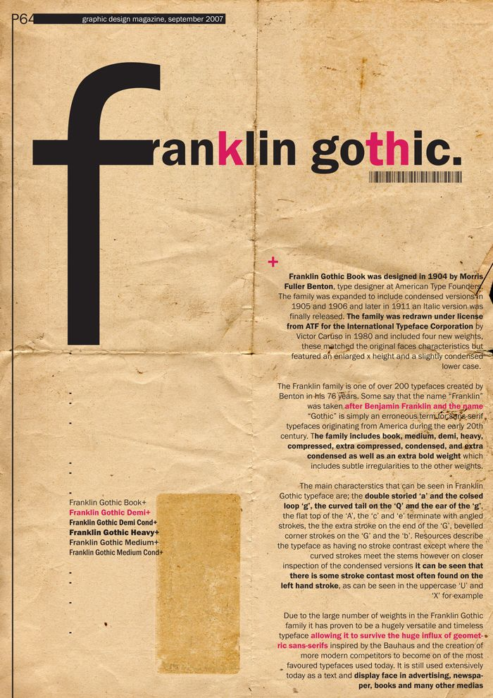 franklin gothic poster - Google 검색 | Just my Type | Tipografía