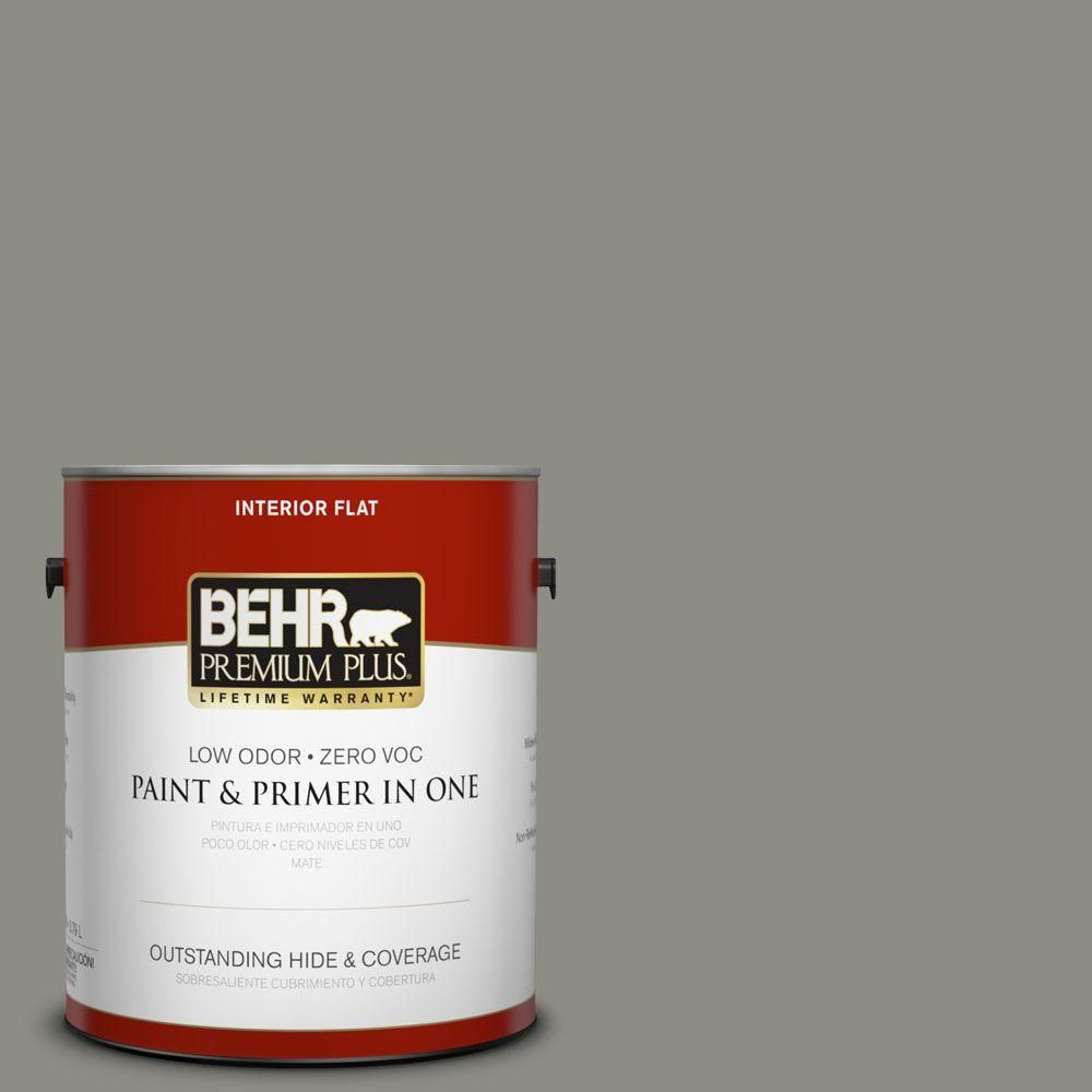 Behr Premium Plus 1 Gal N370 5 Incognito Flat Low Odor Interior Paint And Primer In One 140001 Interior Paint Behr Exterior Paint