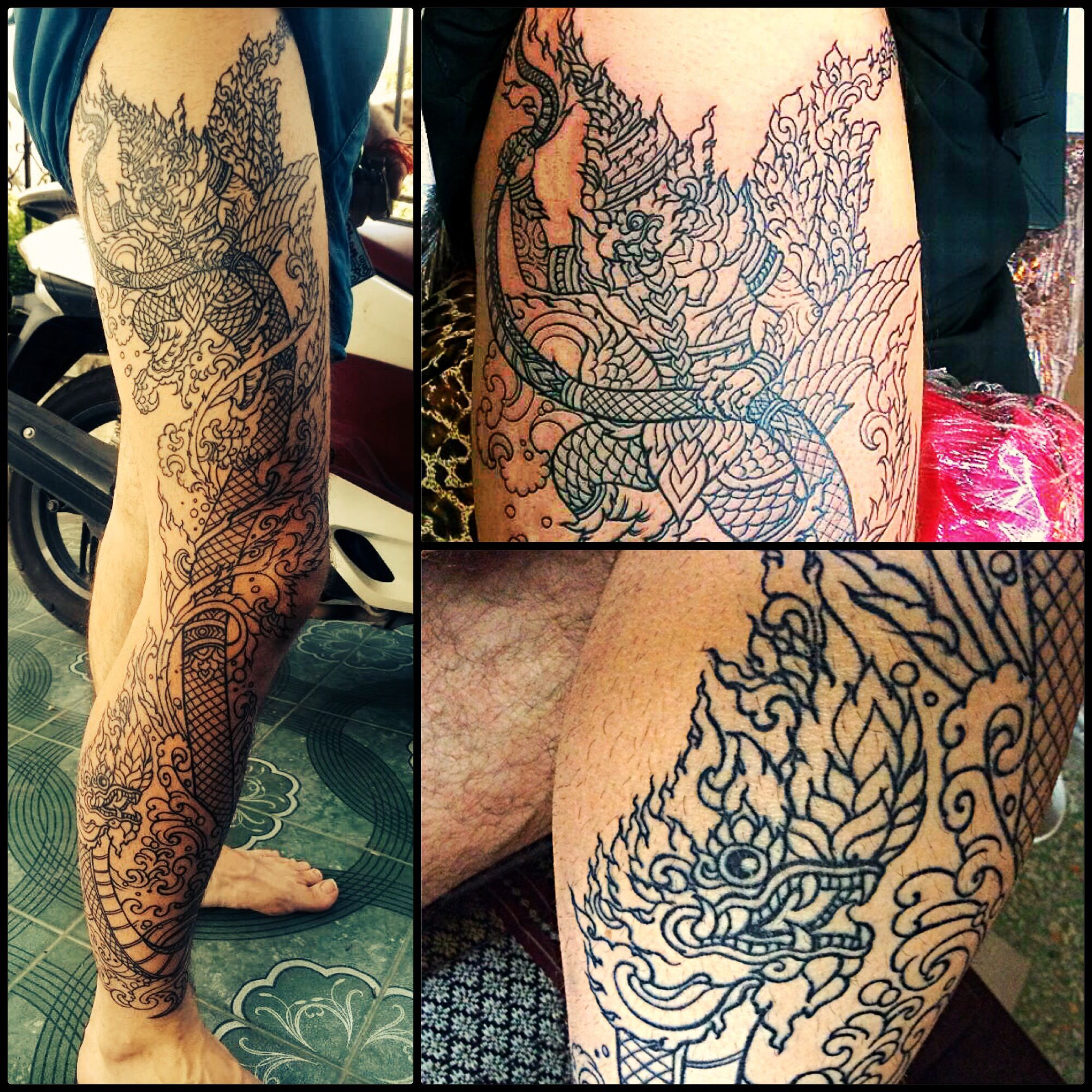 Thai Style Tattoo Naga And Garuda Full Leg Tattoo Art Tattoos