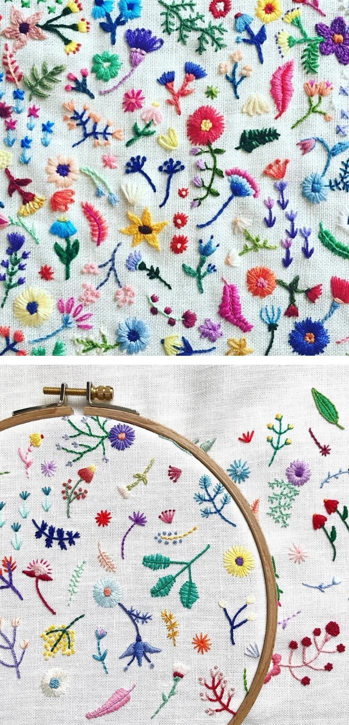 Tiny Embroidery Stitches Small Blooms Into Spontaneous Arrangements