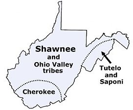 Map of West Virginia tribes in the past | ✦ Maps | West ...