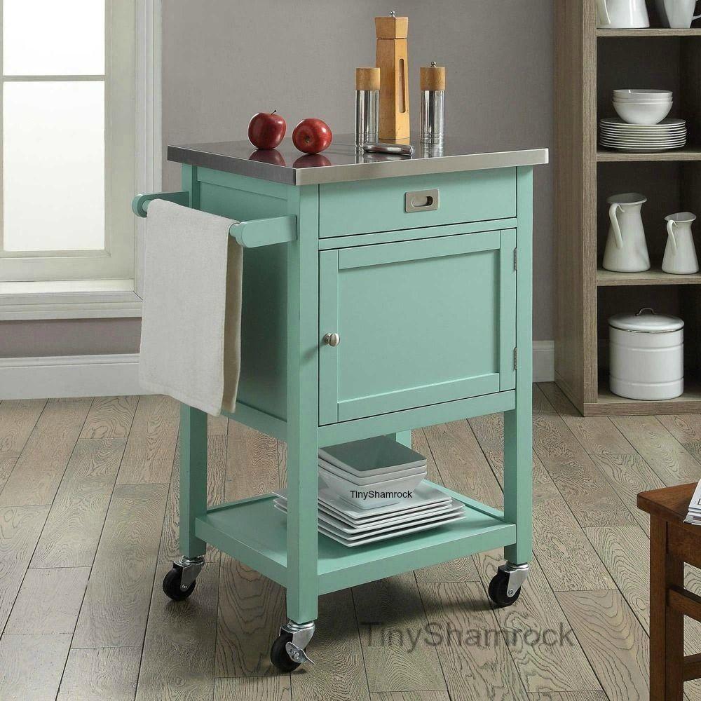 Rolling Kitchen Island Small Cart Apt Loft Furniture Stainless Steel ...