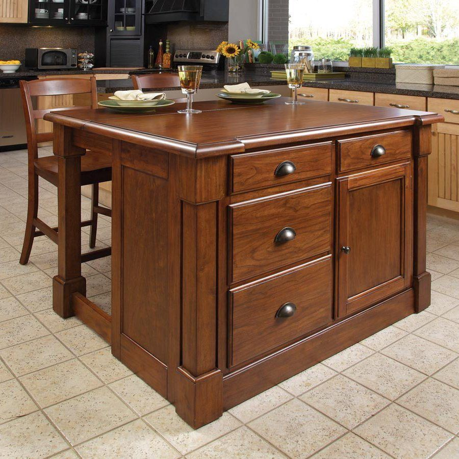 Home Styles 48-in L x 39-in W x 36-in H Brown Midcentury Kitchen ...
