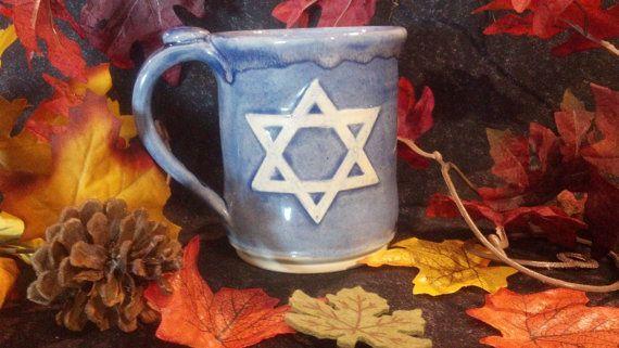 Blue Star of David Mug Judaica Mug Star of David by MuditisPottery