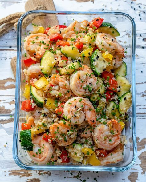 Clean Eating Shrimp Cauliflower Fried Rice for Meal Prep #healthyfoodprep