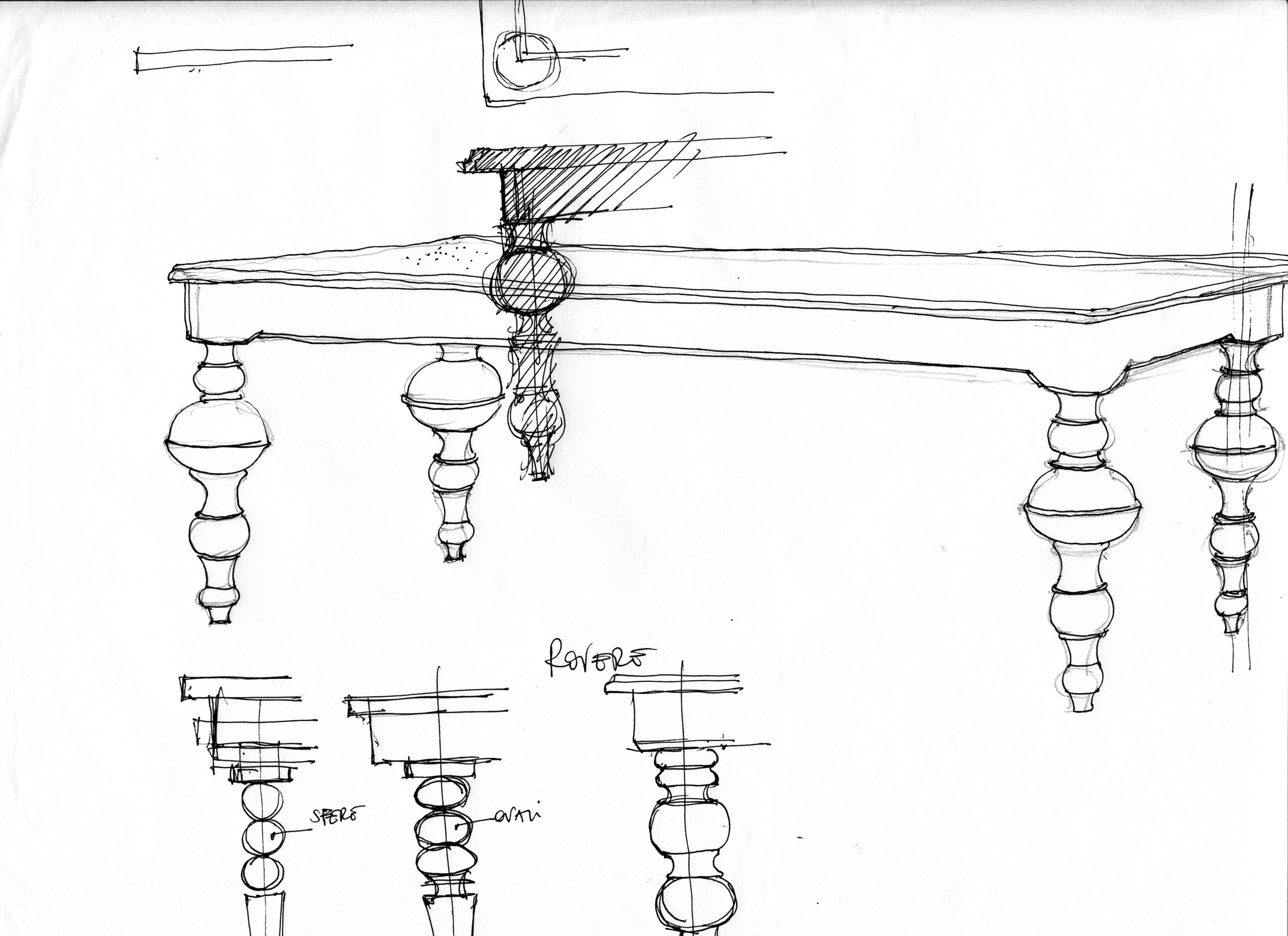 table (sketch by pier giuseppe fedele architect)