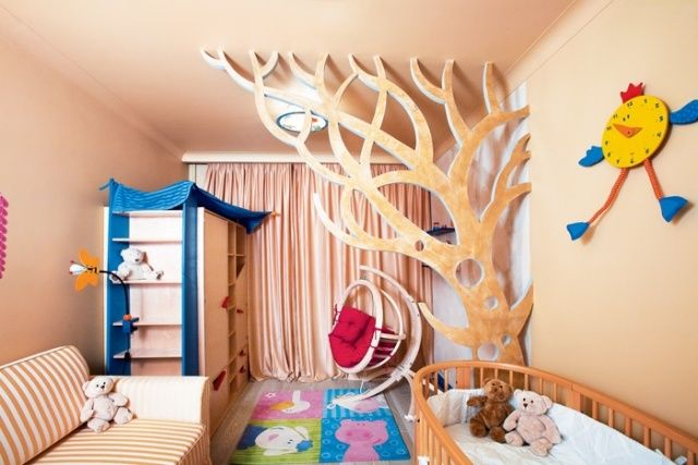 Raumteiler Kinderzimmer Kreatives Design Holz Baum
