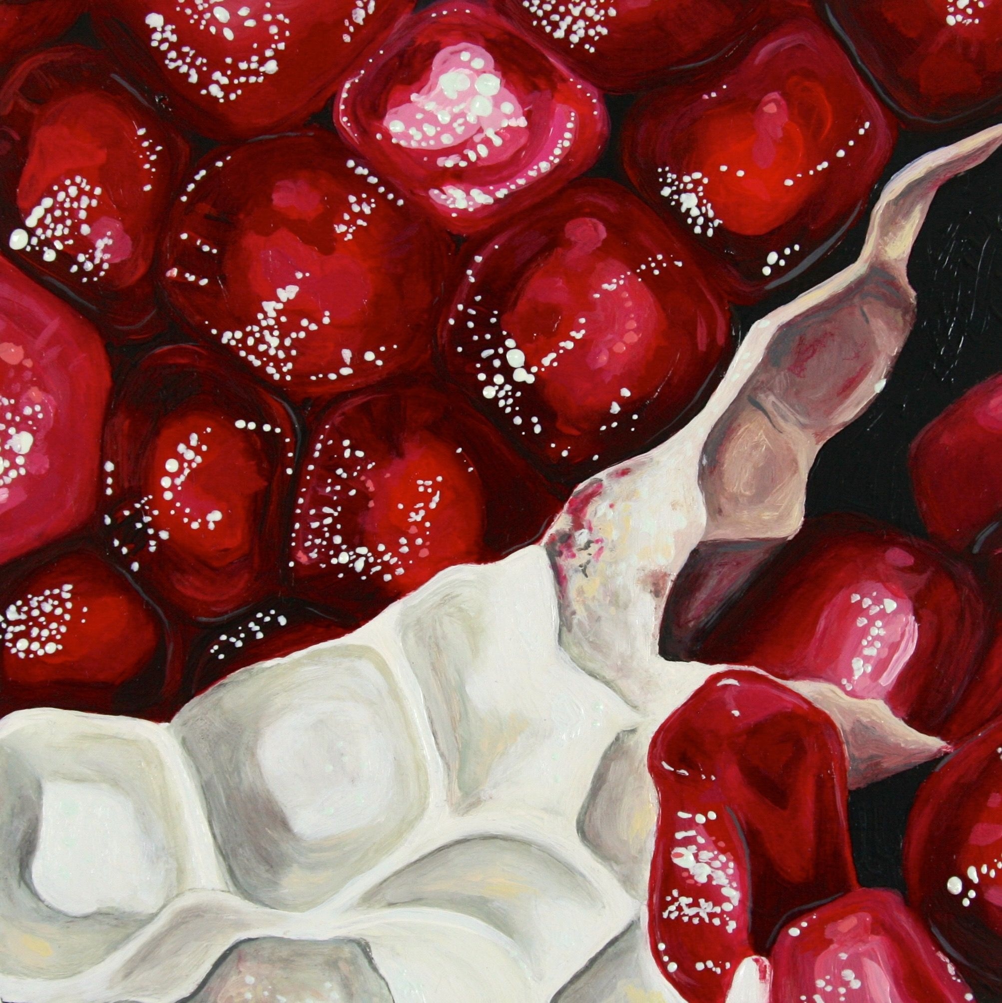Angela Faustina Pomegranate Xvi 2015 Oil On Cradled Painting Panel 6 By 6 Private Collection Fruit Painting Glass Painting Designs Gcse Art Sketchbook