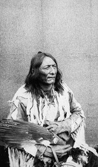 Crowfoot, Head Chief of the Blackfoot Nation, 1887. Crowfoot refused to let his followers join the Northwest Rebellion because he thought it was a lost battle