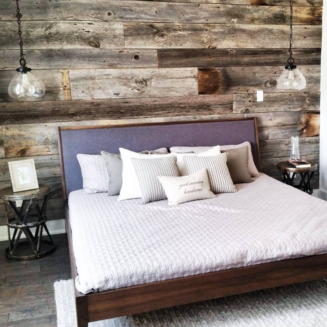 p>reclaimed grey barn board feature wall we installed for a model, Schlafzimmer entwurf