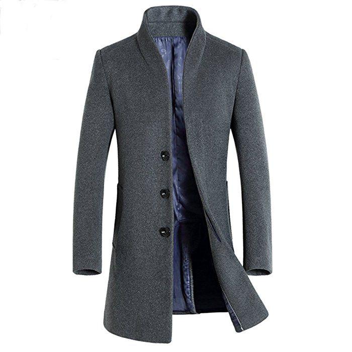 iBaste Herren Wollmantel Elegante Wintermantel Winterjacke Winter Herbst  Jacket Herren Mantel Jacke Männer Parka Trenchcoat Stehkragen Grau L f629ff7e8b