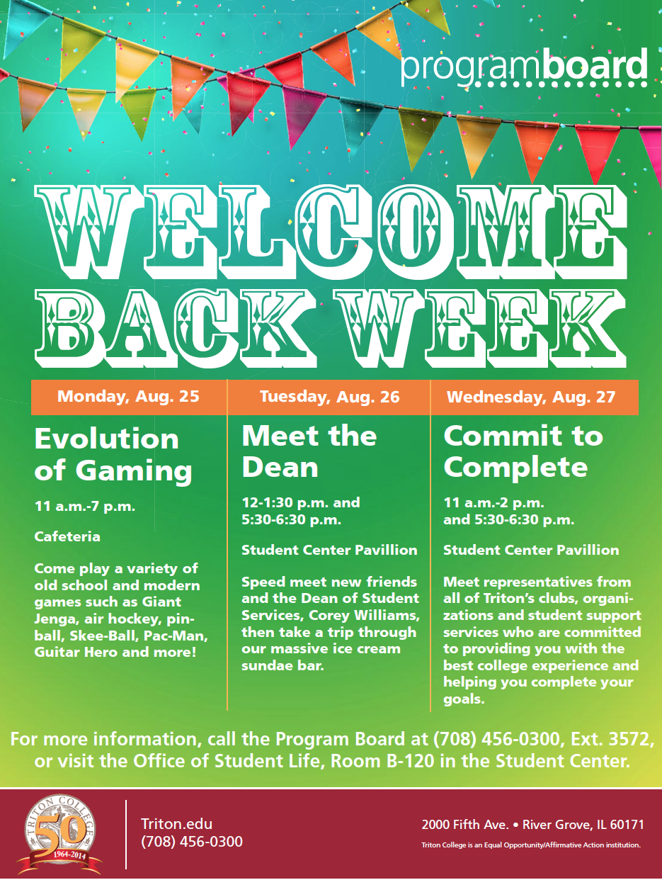 welcome back week is just around the corner at triton college. check