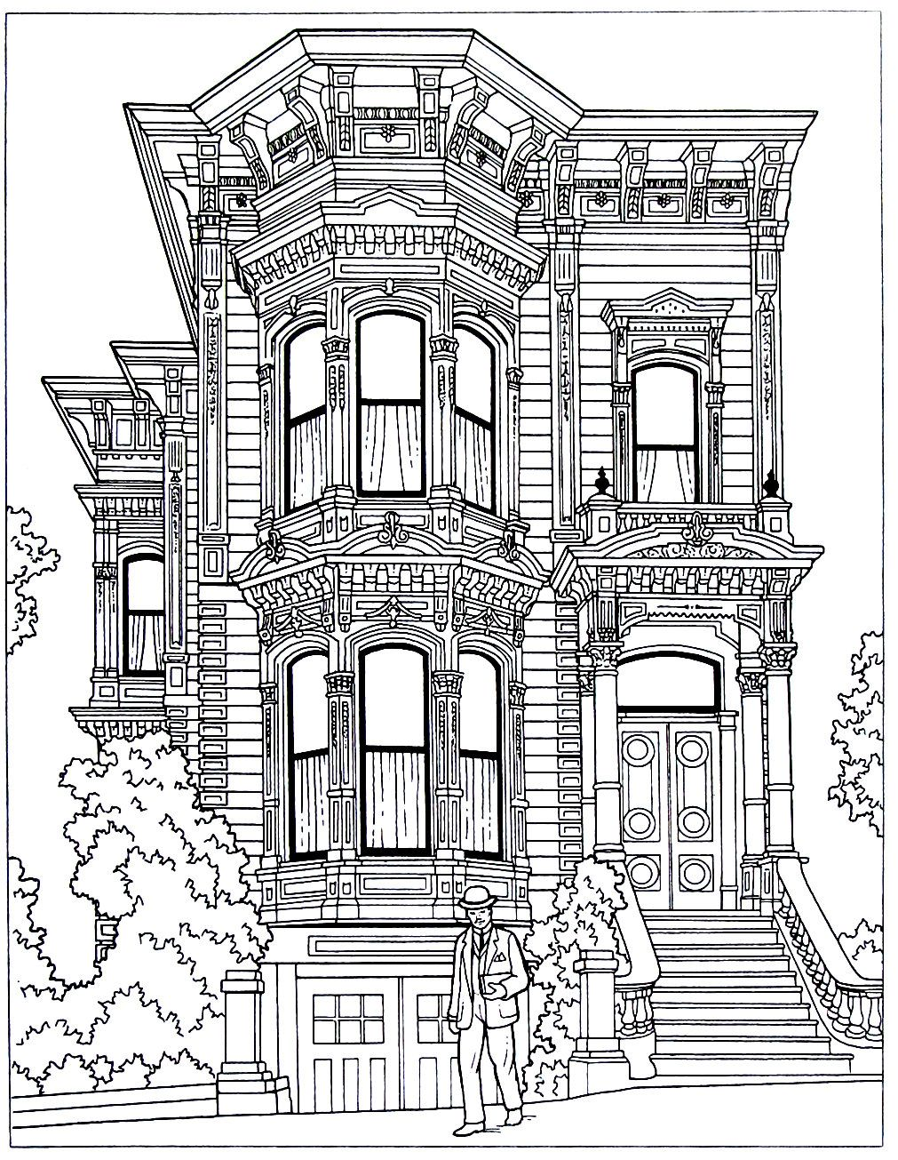 Victorian house printable coloring book page an italianate style house in san francisco ca