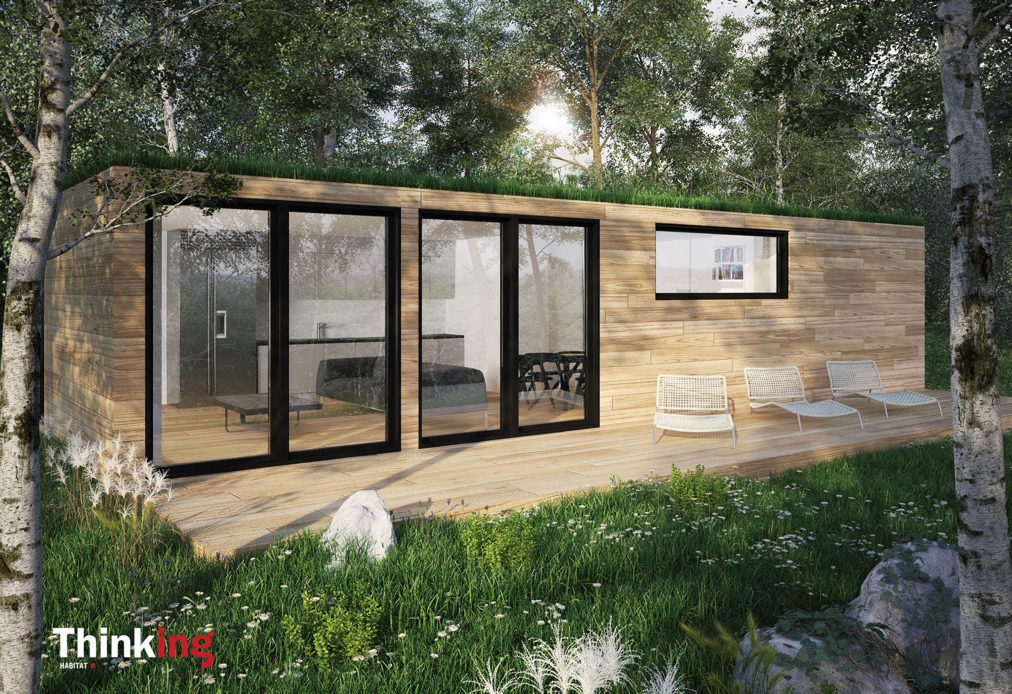 Mini chalet thinking habitat construit partir de for Conteneur habitat
