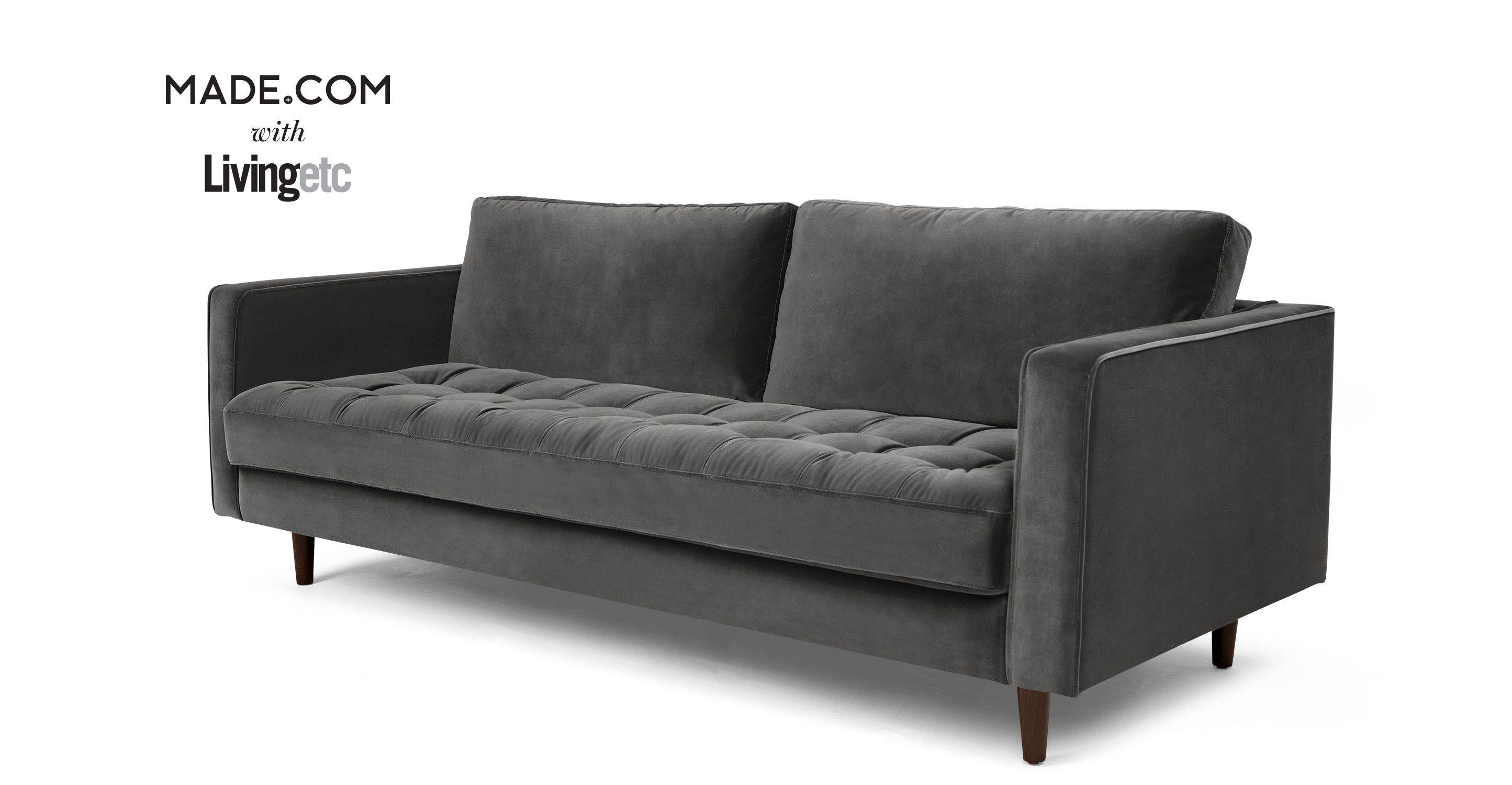 Scott 3 Seater Sofa Concrete Cotton Velvet from Made Grey