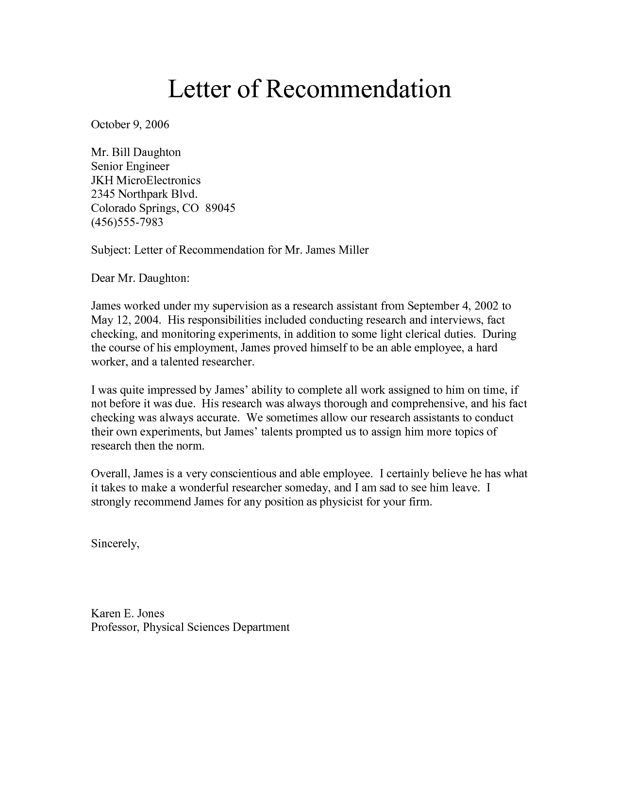 Army Letter Of Recommendation ExampleLetter Of Recommendation – Letter of Recommendation for Job
