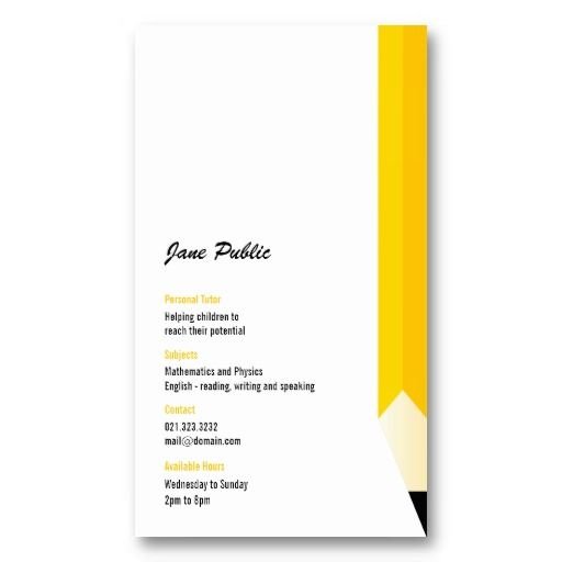 Personal Tutor Pencil Business Card