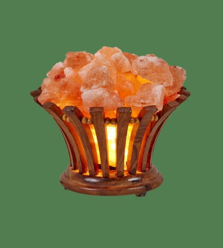 Oval Wooden Salt Basket Lamp In 2020 Salt Crystal Lamps Himalayan Crystal Salt Lamp Himalayan Rock Salt Lamp