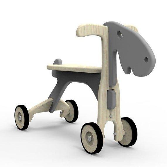 Kids Wooden Balance Bike – Great Training Push 4 wheels Toy- Eco Moose Toy