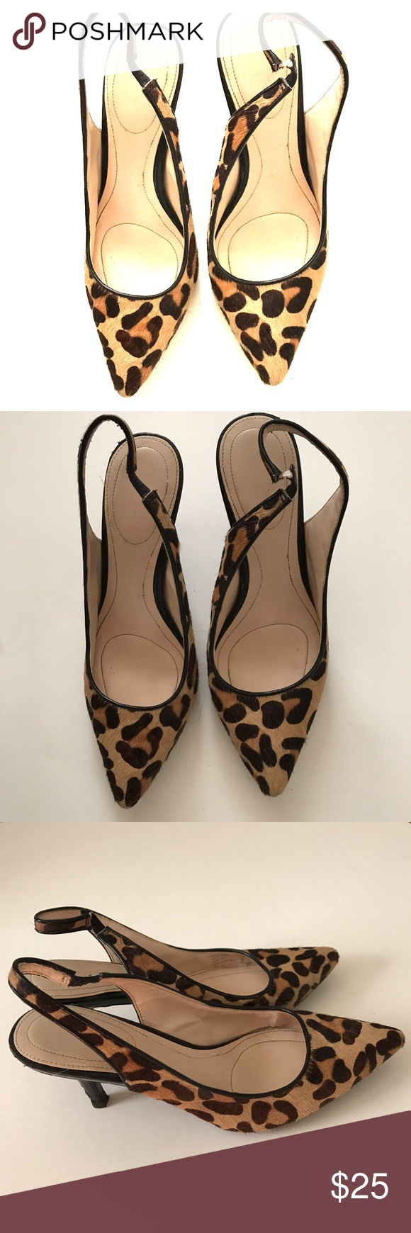 ce632e8b2984 Calvin Klein animal print sling back heels Calvin Klein animal print faux  pony fur sling back heels. Size 7 1 2. 3 inch heals. Good condition Calvin  Klein ...