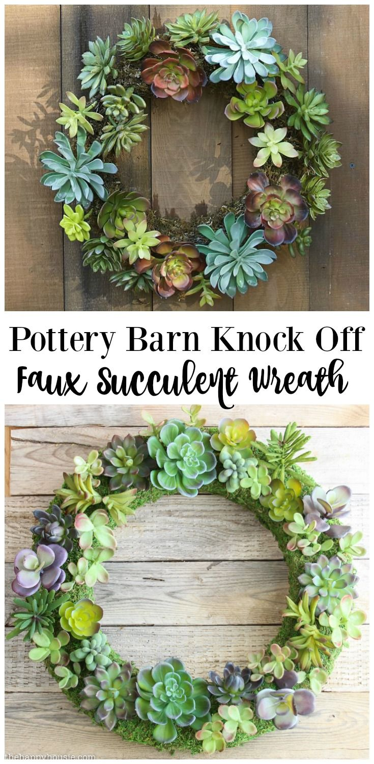 Pottery Barn Knock Off Faux Succulent Wreath The Happy Housie Faux Succulent Wreath Diy Succulent Wreath Diy Faux Succulent Wreath
