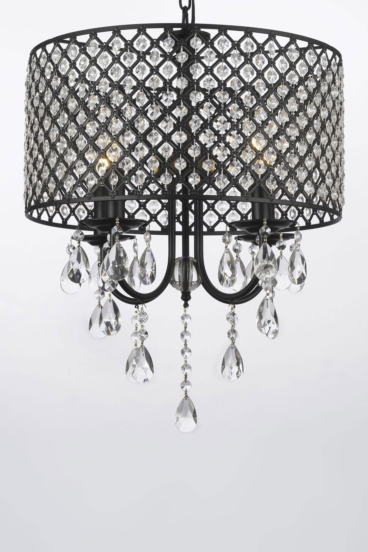 Four Light Wrought Iron Crystal Chandelier