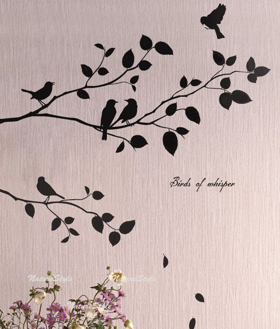 Two Branches With Flying Birds Vinyl Wall DecalStickerNature - Wall decals birdsbirds couple on branch wall decal beautiful bird vinyl sticker