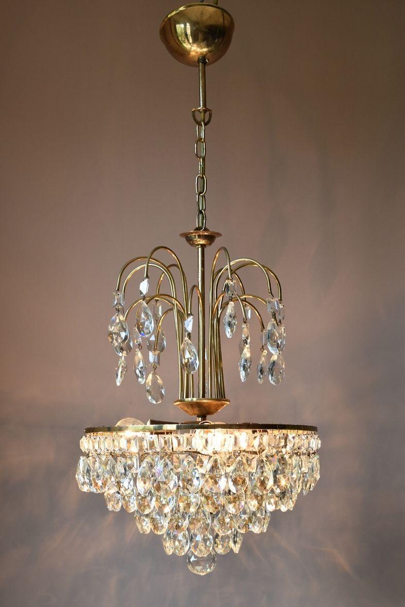 Ornate Brass Antique French Vintage Crystal Chandelier Lamp Art