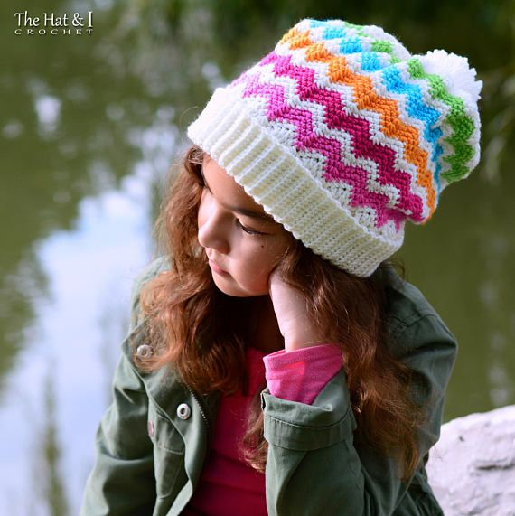 4267a6c71eb Crochet Hat PATTERN - Super Slouchy Chevrons - colorful slouch hat pattern