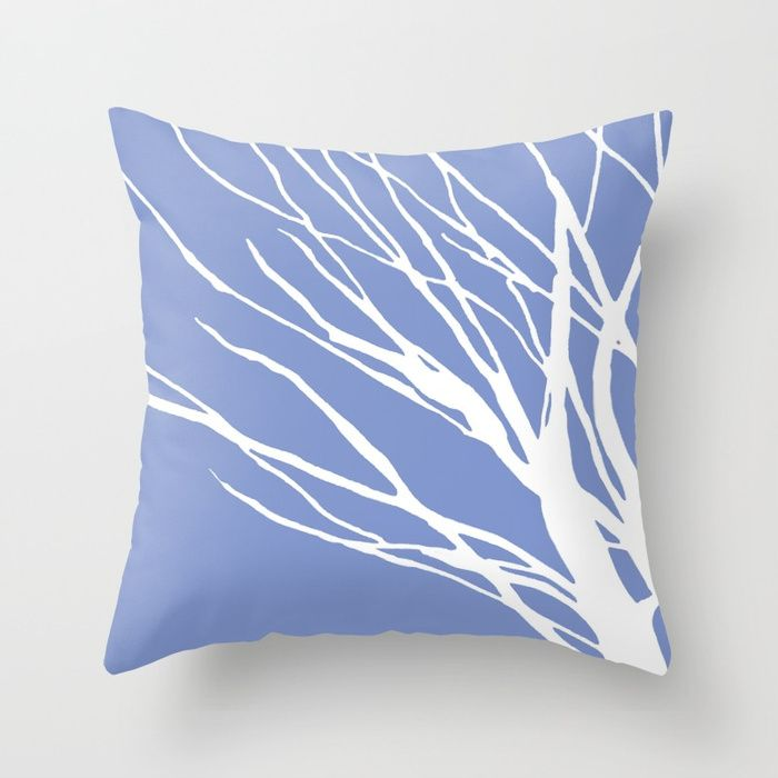 Tree Silhouette Periwinkle Blues Throw Pillow Gifts Homedecor