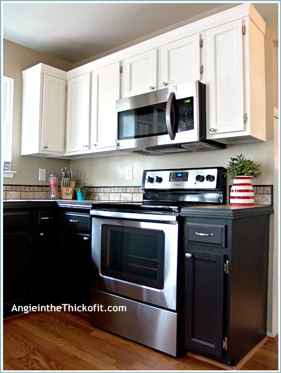 Kitchen Cabinets Ascp Pure White Uppers Benjamin Moore Advance Jet Black Lowers Angie