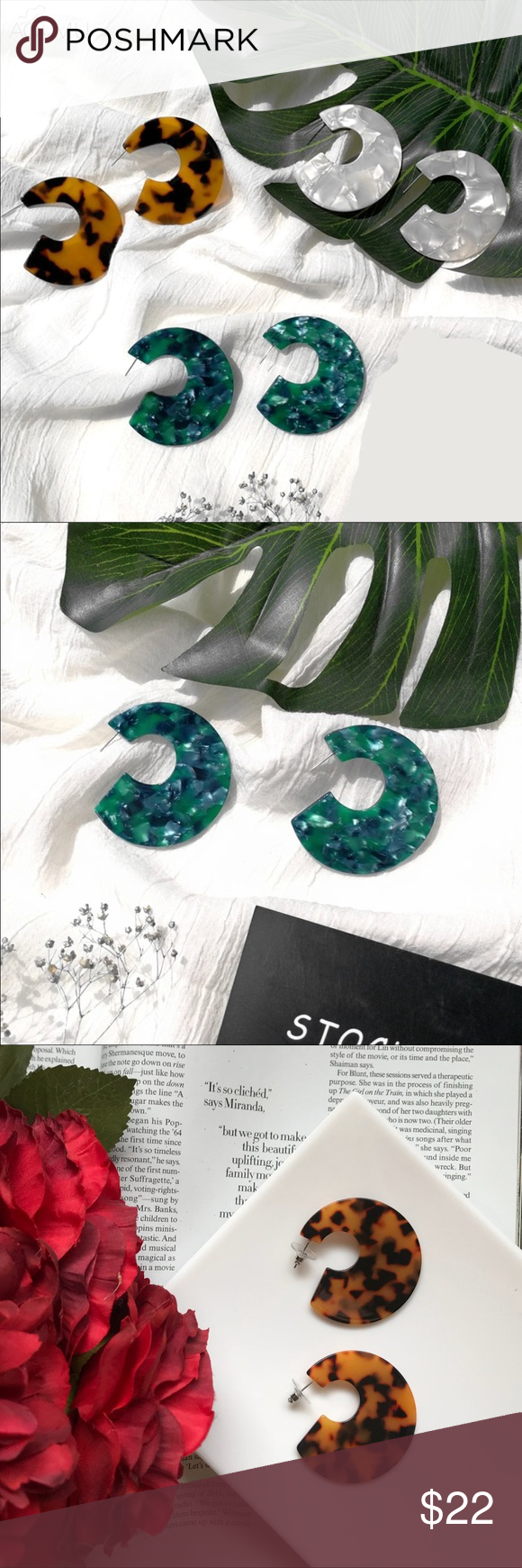 3527755f171 Green Tortoise Round Acrylic Earrings Brand New Boutique Item Tortoise  leopard like brown round circle earrings